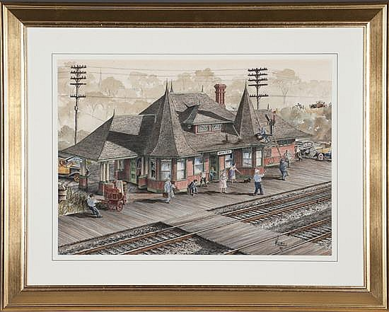 Wentworth D. Folkins, Whitby Station, Watercolor on Paper, Od: 28 H x 34 1/2 W Id: 20 H x 27 W