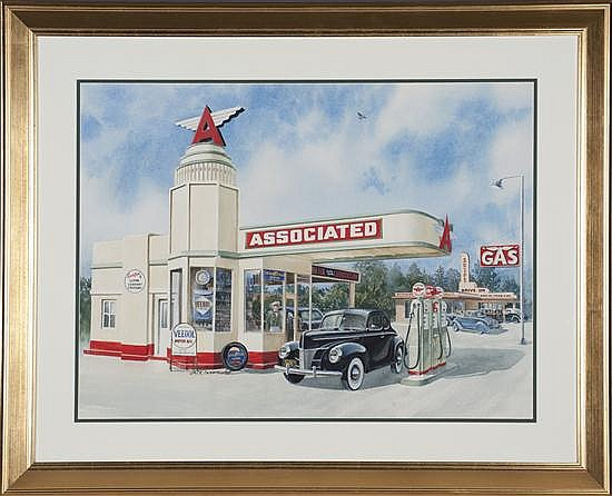 Jack Schmitt, Flying a Service, Watercolor on Paper, Od: 32 H x 39 W Id: 23 H x 30 W