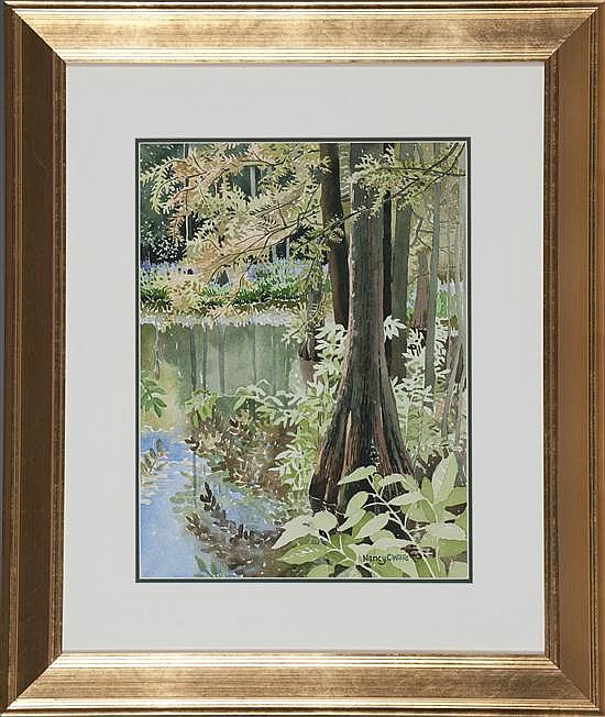 Nancy Willis, Cypress Swamps, Watercolor on Paper, Od: 26 H x 22 W Id: 16 H x 12 W
