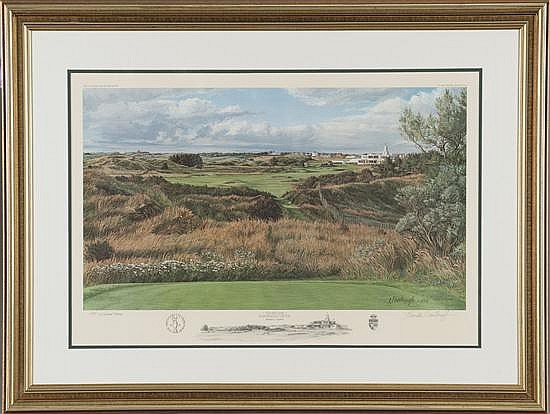 Linda Hartough, The 18th Hole Royal Birkdale, Print on Paper, Od: 28 H x 37 W Id: 22 1/2 H x 30 W