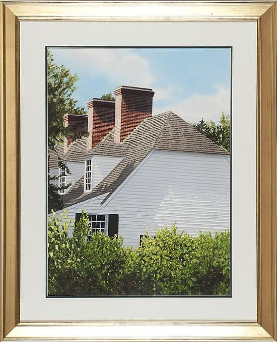 Thomas A. Newnam, Three Chimneys on White Frame House, Watercolor on Paper, Od: 39 H x 31 W Id: 30 H x 22 W