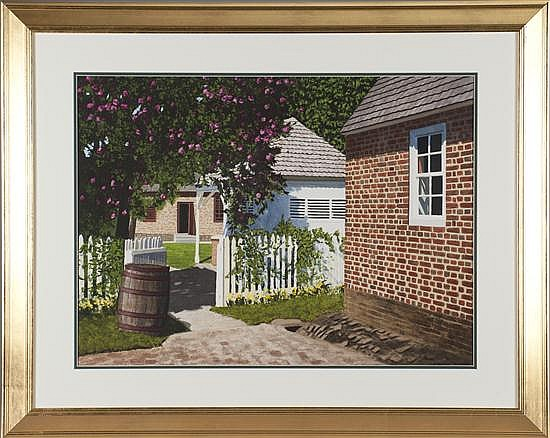 Thomas A. Newnam, Looking Through Open Gate with Barrel, Watercolor on Paper, Od: 31 H x 39 W Id: 30 H x 22 W