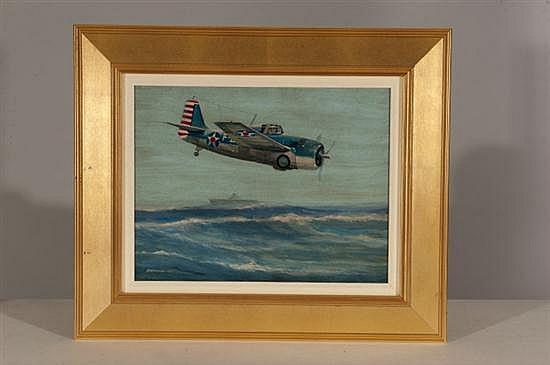 Edward Anderson, F4F Wildcat, Oil on Board , Od: 22 H x 26 W Id: 13 H x 16 W