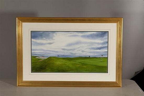 John Bayalis, North Berwick West Links: View Towards Edinburgh, Watercolor on Paper, Od: 25 3/4 H x 38 1/4 Id: 15 H x 27 3/4 W