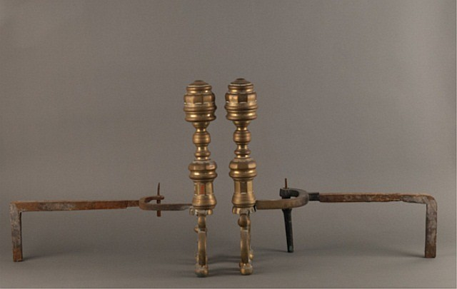 Turn of the 19th Century Double Scroll Andirons,