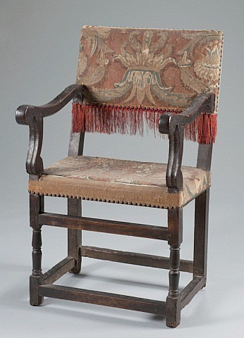 A 17th Century Oak Armchair with Woven Tapestry Up