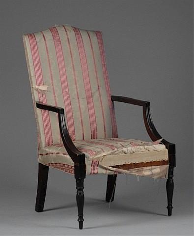 Sheraton mahogany lolling chair.