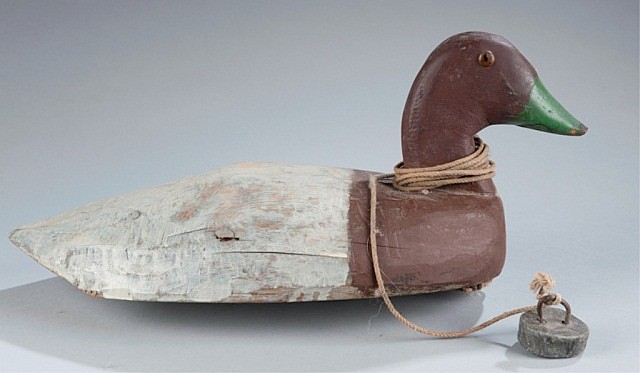 Canvasback Duck Decoy With Anchor