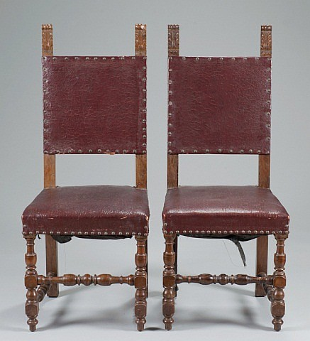 A Pair of 19th Century Baroque-style Sidechairs,