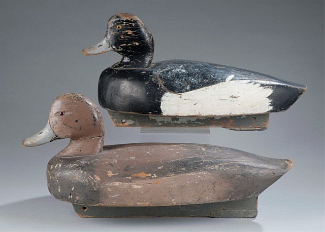 Pair of carved & painted Scaup Bluebill decoys.