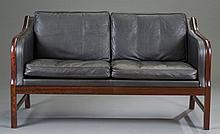Danish Rosewood and Leather Settee