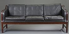 Danish Rosewood and Black Leather Sofa