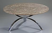 Fossil Table with Chrome Base