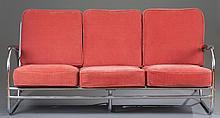 Art Deco Tubular Chrome Sofa and Arm Chair