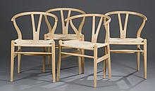 Four (4) Hans Wegner Oak Wishbone Chairs