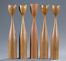 Five (5) Danish Teak Candlesticks