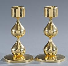 Pair of Design Asmussen 24K Plated Candle Holders
