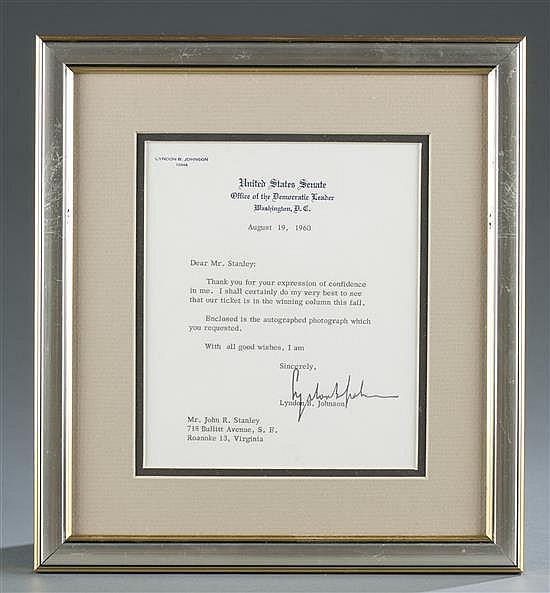 Letter Signed by Lyndon B. Johnson, Senator