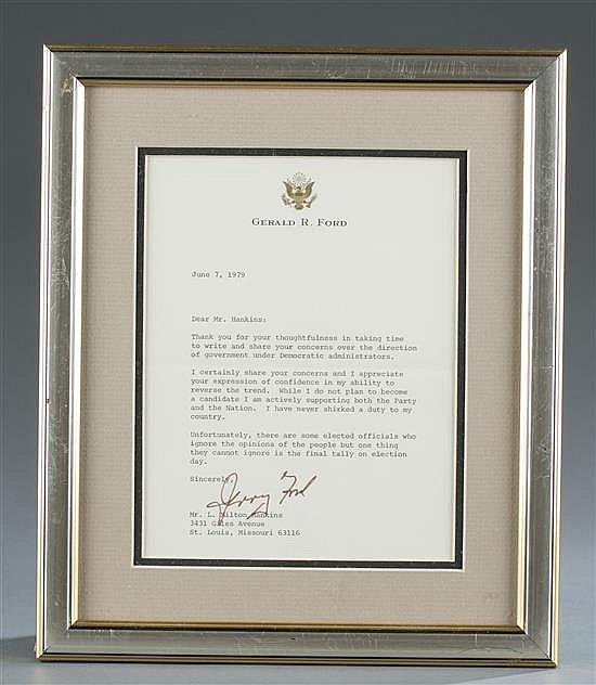 Gerald Ford Signed Letter