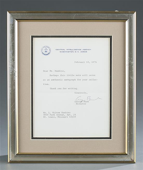 Signed Letter by CIA Director George H. W. Bush
