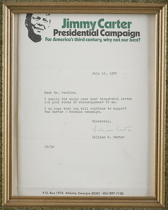 Lillian G. Carter Letter
