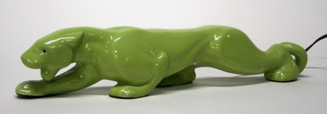 Avocado Green Ceramic Jaguar Lamp.