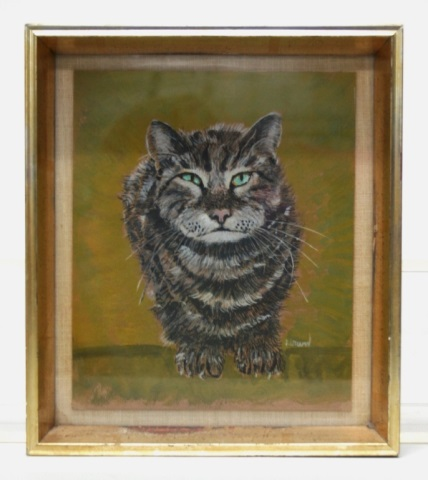 Long Hair Tabby Gouache on Chipboard.