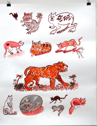 Watercolor of Various Types of Cats on Paper