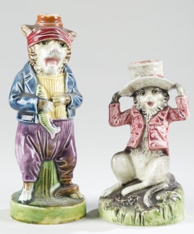 English Ceramic Cat Candlesticks