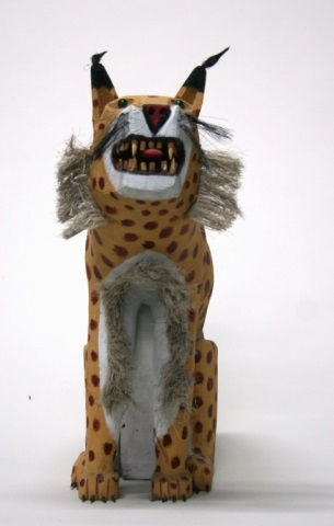Leroy Archuleta Carved Wooden Leopard Sculpture.
