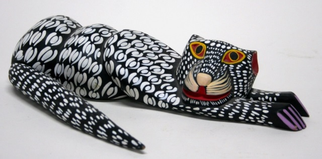 Moises Jimenez Carved Oaxacan Cat Sculpture