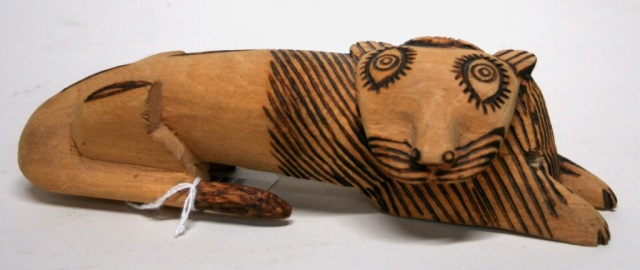 Carved Wooden Folk Art Lion Sculpture.
