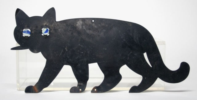 Black Metal Cat Decorative Wall Plaque.