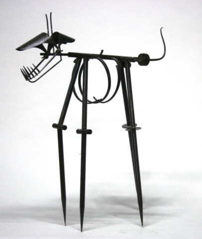Metal Surrealist Cat Sculpture.