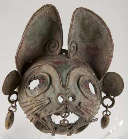 Folk Art Metal Cat Mask, 20th c.