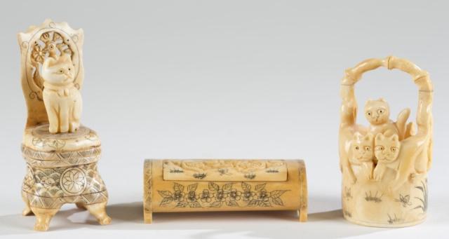 Trio of Miniature Carved Composite Cat Figurines.