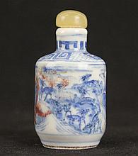 A Chinese Underglaze Red and Blue Porcelain Snuff