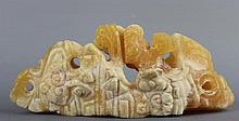 A Chinese Yellow Stone Lingzhi Brush Rest.
