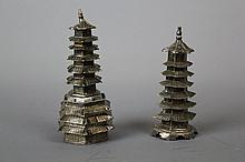 Two Chinese Silver Table Pepper Containers