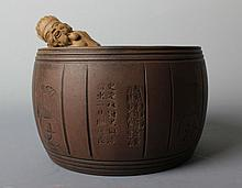 A Set Chinese YiXing ZiSha Tea Caddy and Spoon.
