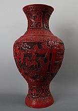 A Large Chinese Carved Cinnabar Lacquer Vase