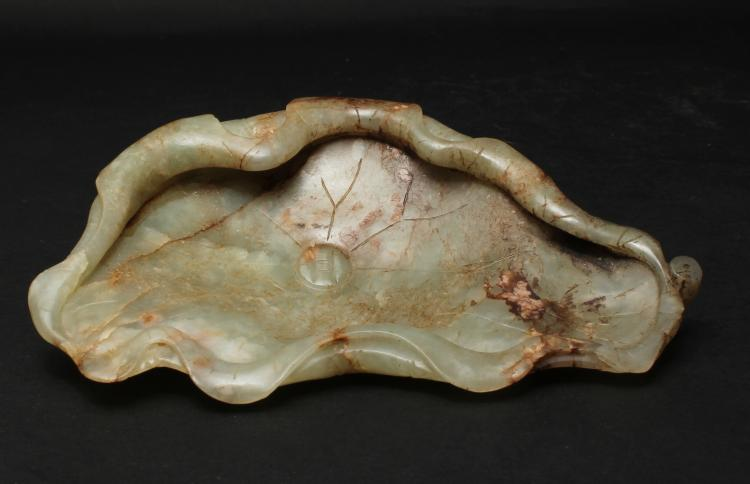 A CHINESE WHITE JADE LOTUS CARVED BRUSH WASHER,19 TH CENTURY