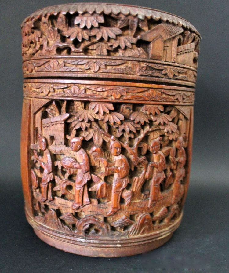 A CHINESE BAMBOO CARVED TEA HOLDER