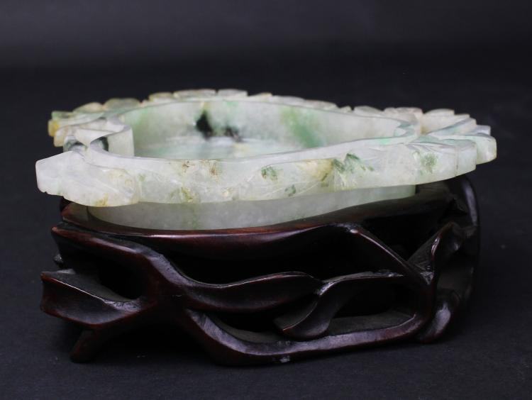 A VERY RARE CHINESE CARVED JADEITE BRUSH WASHER, QING DYNASTY
