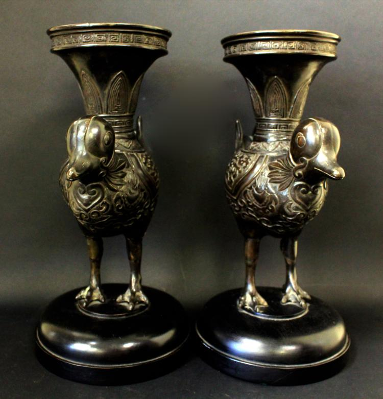 A PAIR OF JAPANESE COPPER  CANDLE HOLDER