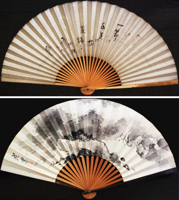 A PAIR OF  LANDSCAPE PAINTING AND CALLIGRAPHY ON PAPER ON FAN