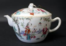 19TH C,A CHINESE FAMILLE ROSE PORCELAIN TEA TOP