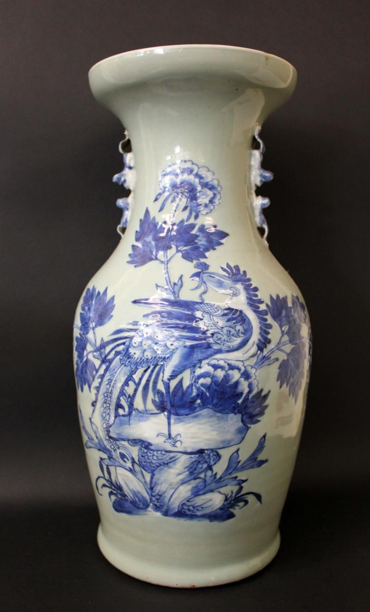 A LARGE LONGQUAN VASE, BLUE AND WHITE PHOENIX AND PEONY ON THE NECK AND SIMILAR DECORATION ON THE BODY