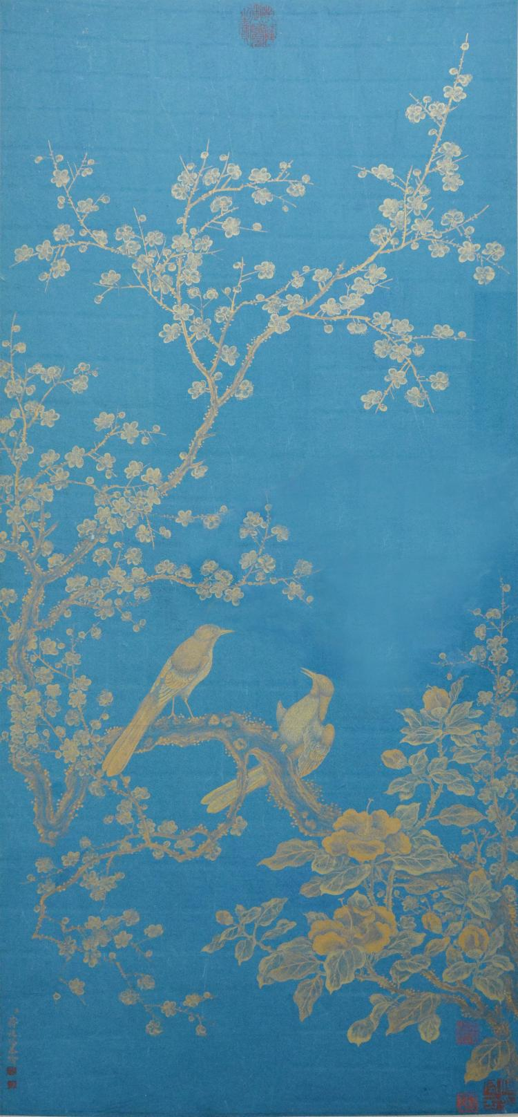 JIANG YANXI (1669 - 1732) CHINESE SPARROW AND PLUM BLOSSOM PAINTING