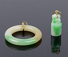Two Chinese Jadeite Pendants with 14K Gold Setting